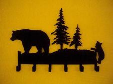 Bear with Cub Metal wall art Key Rack Holder Hanger Made USA rustic, log cabin