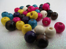 80 MULTICOLOURED MIXED DYED WOOD SPACER BEADS 10 x 9mm round shape with 3mm hole