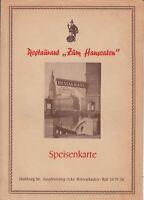Vintage 1950s Restaurant Menu ZUM HANSEATEN Hamburg Germany 1955