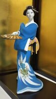 "Vintage Japanese Geisha doll Porcelain in Kimono 15""  40 cm in glass case Blue"