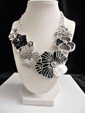 "Joan Rivers Charming Blooms Enamel & Pave' Bib Necklace ""Black/White"" NWT"