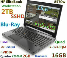3D-Design HP 8570w i7-3740QM Blu-Ray 2TB SSHD 16GB 15.6 FHD QUADRO K2000M 2GB
