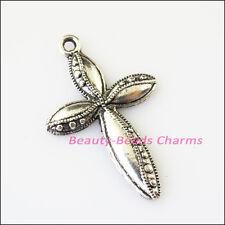 6Pcs Antiqued Silver Tone Leaf Flower Cross Charms Pendants 24.5x38mm