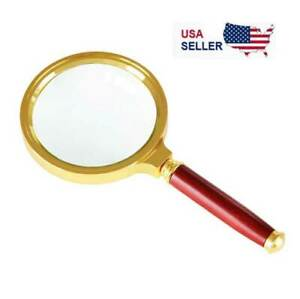 Rocks Crossword Puzzle Inspection Map Coins Fathers Day Gift Handheld Magnifier Antique Vintage Look Brass Handle Magnifier 10X Reading Magnifying Glass Loupe Magnifier for Reading Book Insects