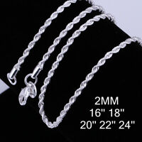 2MM Silver Italian DIAMOND CUT ROPE CHAIN Necklace Italy