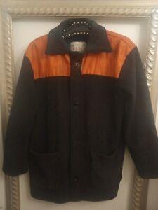 British Donkey Jacket Black Orange - Ditsy Vintage 1980s Medium