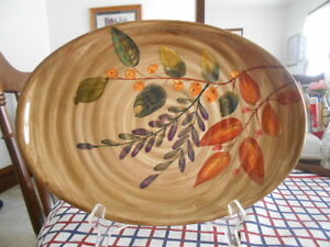 """Shadow Wood Platter Chop Plate (s) 12"""" Gibson Ceramic? Brown Green Tan Red NEW !"""