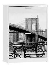 """Zapatero de 2 puertas Blanco con serigrafiado """"Manhattan"""" 82x60 cm"""
