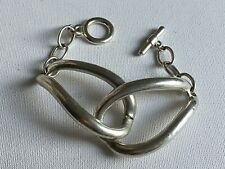 Chunky Modernist Silver Tone Metal Link Bracelet T Bar Fastening Industrial