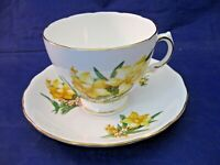 VINTAGE ROYAL VALE TEA CUP AND SAUCER - MADE IN ENGLAND - YELLOW FLOWERS