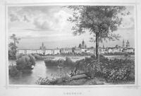 GERMANY View of Leipzig - 1860 Original Engraving Print