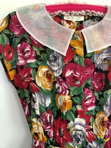 Vintage 80s DRESS 10-12 Rose Floral pintucks contrast collar elastic waist