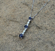 Blue Sapphire and Diamond Necklace, 14K White Gold Pendant