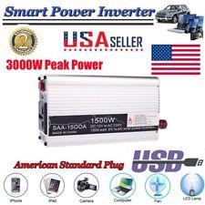 Car Power Inverter 3000W Peak 12V DC To 220V AC Modified Sine Wave Converter US