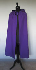 MEDIUM PURPLE HOODED CLOAK/CAPE WITCH WIZARD QUEEN HALLOWEEN PAGAN MADE IN UK