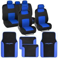 Two Tone Seat Covers Vinyl Trim Floor Mats Set Split Bench Black & Blue Design