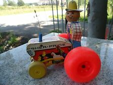 Vintage 1961 Fisher Price Pull Along Farmer Wooden Toy Mighty Tractor #629
