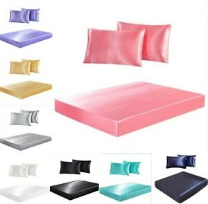 Satin Silk Feel 3pcs Fitted Sheet+Pillowcase Set Fully Elastic Deep Pocket H_188