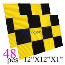 12x12x1 48Pack BLACK YELLOW  Acoustic Wedge Studio Soundproofing Foam Wall Tiles