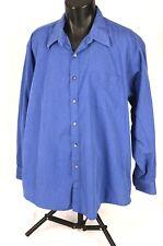 ROBERTO VILLINI Mens Dress Shirt Sz 17 1/2 x 34-35 Long Sleeve Button Front Blue