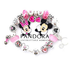 Authentic PANDORA Bracelet Silver Pink MICKEY & MINNIE MOUSE European Charms New