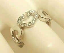 Women's Authentic CARTIER 18K 750 White Gold C-HEART Diamond Ring Size (51) 5.75