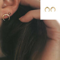1Pair Minimalist Party Punk Moon Earrings Rhinestone Jewelry Crystal Ear Stud