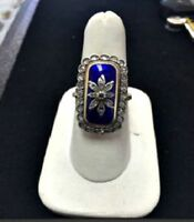 1.20CT ROSE CUT DIAMOND ENAMEL ANTIQUE 925 STERLING SILVER VICTORIAN RING