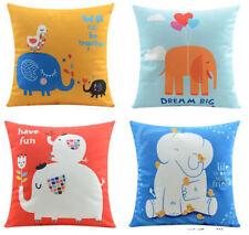 Elephant Home Decor Linen Cotton Cushion Cover Throw Pillow Case 45x45cm