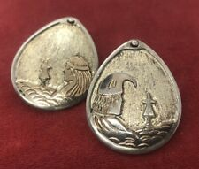Vintage Sterling Silver Earrings Navajo Native American Signed Mike Smith Clip