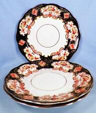 3 Royal Albert Heirloom Dessert Plates Crown China 4534 Blue Gold Rust Flowers