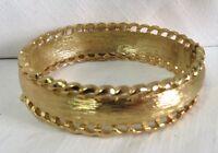 """B4 Vintage Monet Brushed Gold Tone Hinge Clamper Bracelet 6.5"""" - 7"""" Estate"""