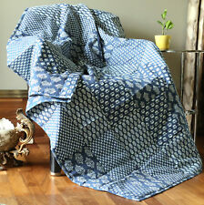 Cotton Indian Handmade Patchwork Quilted Reversible Sofa Throw Picnic Blanket