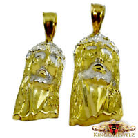 MEN'S SOLID 10K REAL YELLOW GOLD DIAMOND CUT TWO- TONE JESUS HEAD  CHARM PENDANT