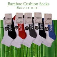 Bamboo Socks Ankle Low Cut Soft Cushion Work Sport Men s7-14 White Black Navy