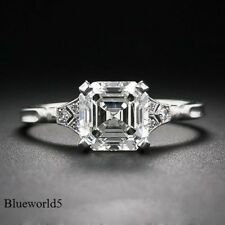 2Ct Near White Asscher Cut Moissanite Engagement Ring 925 Sterling Silver