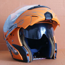 NEU Integralhelm Klapphelm Biker Motorradhelm Jethelme Helm Matt Orange S M L XL