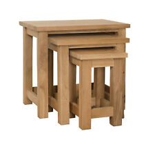 Ascott Oak Nest Of 3 Tables / Coffee Units / 52cm 36cm 49cm