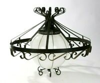 Vintage Black Cast Iron Wire Cage & White Glass Globe Hanging Light Chandelier