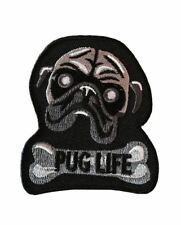 Pug Dog Lovers Pug Life Cute Pug and Bone Logo 2.5 Inch Wide Embroidered Patch