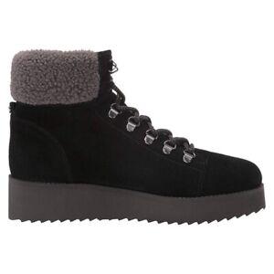 Sam Edelman Womens Franc Sherpa Trim Wedge Ankle Boots Black Suede Size 6 NWOB