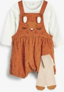 Next Baby Girls Rust Fox Cord Dungarees Bodysuit And Tights NEW