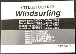 Citizen Instruction Manual Windsurfing Cal. D28A D28B D28F D28E Quartz b6910