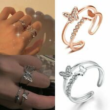 Fashion Crystal Butterfly Ring Open Band Women Finger Knuckle Adjustable Jewelry