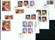 LOT 77990 CANADA 5  FDC PLATE BLOCK COVERS 1991 CHRISTMAS 1339 - 1342