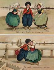 4 Florence Hardy Dutch Children unused old pcs C W Faulkner Series 1238