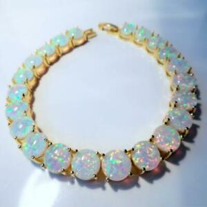 """EXQUISITE  WHITE   FIRE OPAL  YELLOW GOLD  TENNIS  BRACELET  7.5"""" to  8"""""""