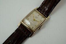 ELGIN VINTAGE RECTANGLE 10K GOLD FILLED & STEEL WRISTWATCH ORIGINAL DIAL 1940'S