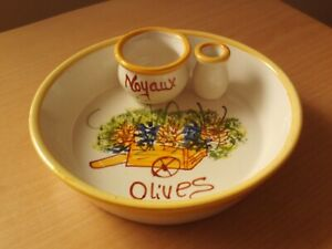 Mediterranean Pottery Olive Dish With Integrated Pip Dish & Stick Pot Glazed.