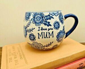 Blue Floral 'Mum' Mug, Sass & Belle Gift for Mums, Tea Coffee Cup!